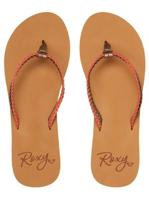 ROXY WOMENS FLIP FLOPS.NEW COSTAS BROWN STRAPPY FAUX LEATHER THONGS SANDALS S20